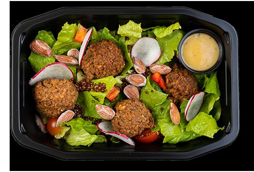 Vegansk salat med vegiboller